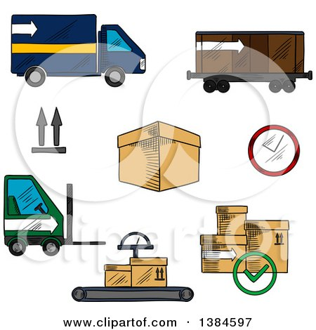 Clipart of Sketched Boxes and Logistics Icons - Royalty Free Vector Illustration by Vector Tradition SM
