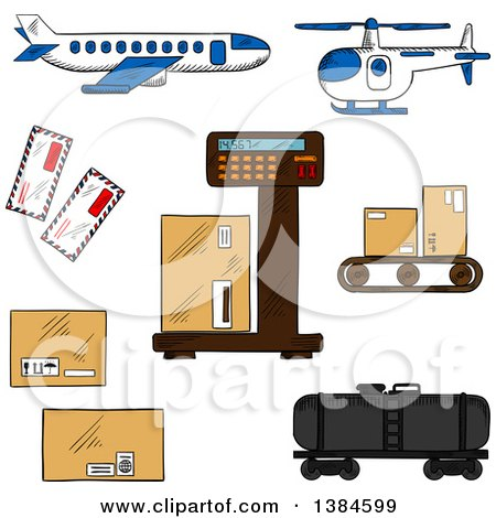 Clipart of Sketched Shipping and Freight Icons - Royalty Free Vector Illustration by Vector Tradition SM