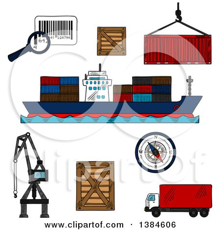 Clipart of Sketched Shipping and Logistics Icons - Royalty Free Vector Illustration by Vector Tradition SM