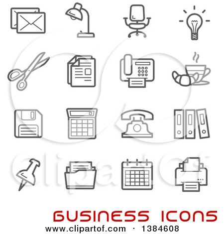 Clipart of Gray Business and Office Icons with Red Text - Royalty Free Vector Illustration by Vector Tradition SM