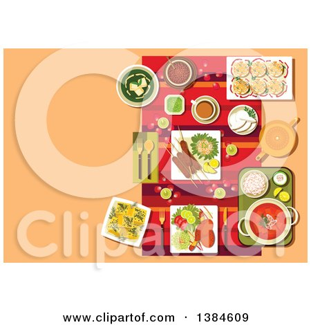 Clipart of a Table Setting of Indian Cuisine, with Candles, Rose Petals and Curry with Rice, Kebab and Tandoori Chicken Legs, Vegetables and Lemons, Spinach Soup with Cheese, Dessert and Tea - Royalty Free Vector Illustration by Vector Tradition SM