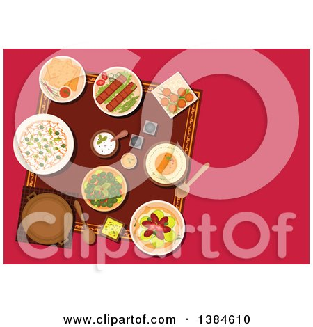 Clipart of a Table Setting of Turkish Cuisine Dishes and Desserts with Kebab and Falafels, Pita Bread with Dipping Sauces, Hummus and Rice, Pickled Green Olives and Lahmacun with Meat and Vegetables - Royalty Free Vector Illustration by Vector Tradition SM
