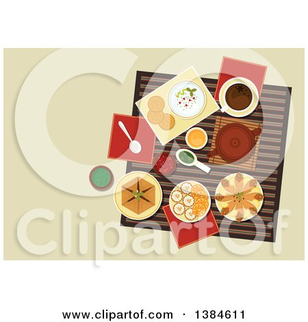 Clipart of a Table Setting of Arabic Cuisine with Chickpea Falafels, Wrapped in Flatbread, Pita with Hummus, Assortment of Dipping Sauces, Sfiha Meat Pie, Teapot and Cakes with Sliced Oranges - Royalty Free Vector Illustration by Vector Tradition SM