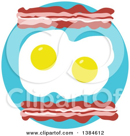 Clipart of a Breakfast of Bacon and Sunny Side up Eggs on a Turquoise Circle - Royalty Free Vector Illustration by Maria Bell