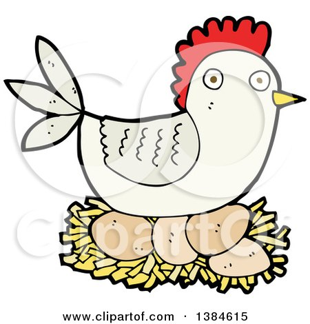 Clipart of a Cartoon Hen Chicken Nesting - Royalty Free Vector Illustration by lineartestpilot