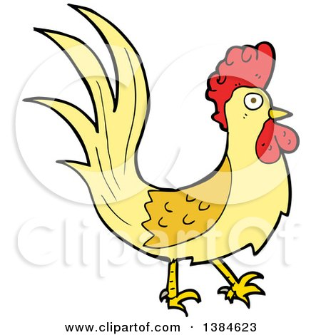 Clipart of a Cartoon Rooster Chicken - Royalty Free Vector Illustration by lineartestpilot