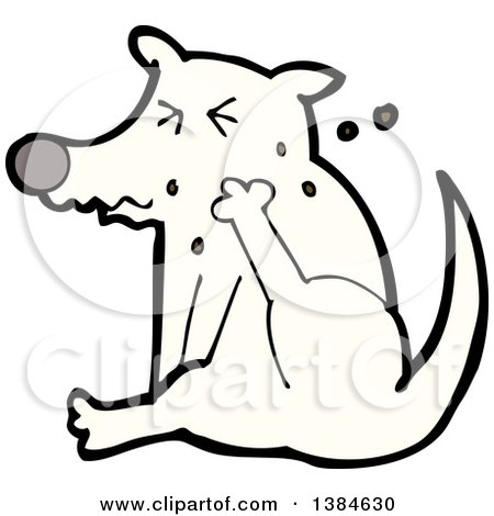 Clipart of a Cartoon Dog Scratching - Royalty Free Vector Illustration by lineartestpilot