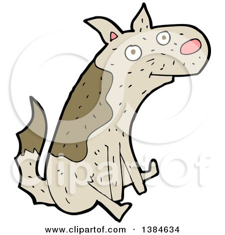 Clipart of a Cartoon Dog Scooting His Butt on the Floor - Royalty Free Vector Illustration by lineartestpilot