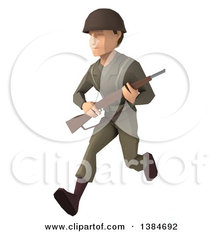Clipart of a 3d Low Poly Geometric Caucasian Male Army Soldier, on a White Background - Royalty Free Illustration by Julos