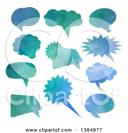 Clipart of Watercolor Painted Speech Bubbles - Royalty Free Vector Illustration by KJ Pargeter
