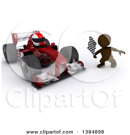 Clipart of a 3d Brown Man Holding a Racing Flag by a Forumula One Race Car, on a White Background - Royalty Free Illustration by KJ Pargeter