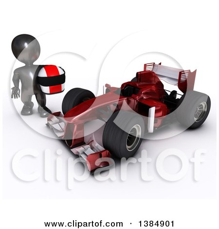 Clipart of a 3d Black Man Driver Holding a Helmet by a Forumula One Race Car, on a White Background - Royalty Free Illustration by KJ Pargeter