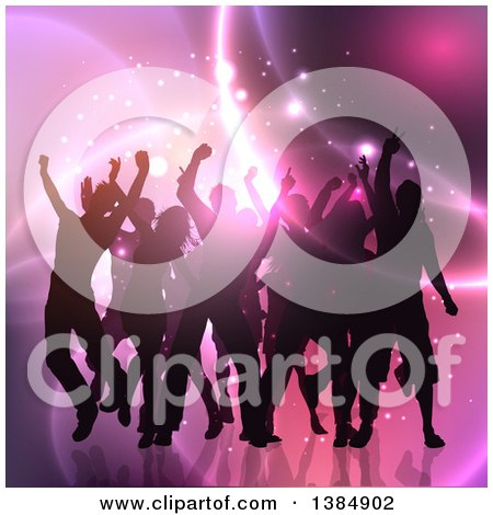 Clipart of a Silhouetted Crowd of People Dancing over Pink Lights - Royalty Free Vector Illustration by KJ Pargeter