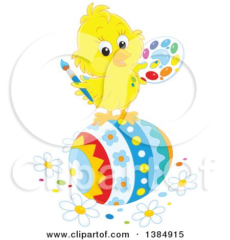 Clipart of a Cute Yellow Chick Painting a Giant Easter Egg - Royalty Free Vector Illustration by Alex Bannykh