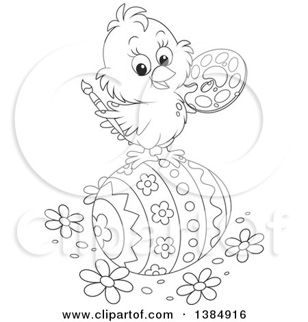 Clipart of a Cute Black and White Chick Painting a Giant Easter Egg - Royalty Free Vector Illustration by Alex Bannykh
