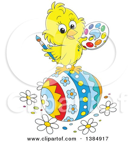 Clipart of a Cute Cartoon Yellow Chick Painting a Giant Easter Egg - Royalty Free Vector Illustration by Alex Bannykh