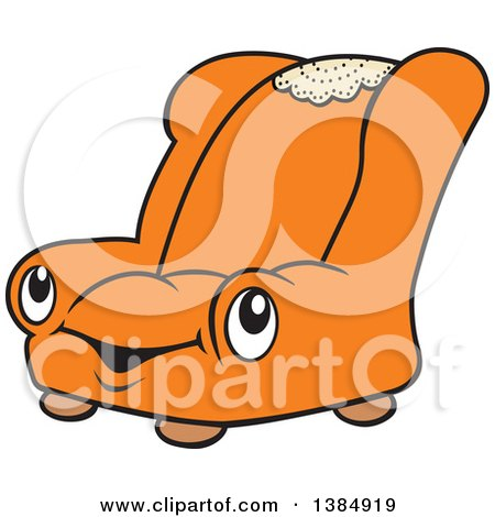 Clipart of a Cartoon Happy Orange Chair Character - Royalty Free Vector Illustration by Johnny Sajem