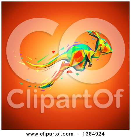Clipart of a Colorful Low Poly Geometric Kangaroo Hopping, on an Orange Background - Royalty Free Illustration by Julos