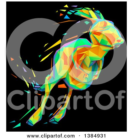 Clipart of a Colorful Low Poly Geometric Kangaroo Hopping, on a Black Background - Royalty Free Illustration by Julos