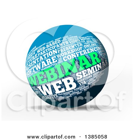 Clipart of a 3d Webinar Word Tag Collage Sphere, on a White Background - Royalty Free Illustration by MacX