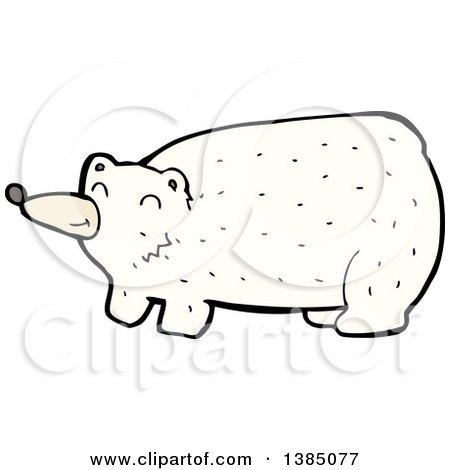 Clipart of a Cartoon Polar Bear - Royalty Free Vector Illustration by lineartestpilot