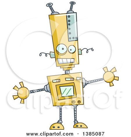 Clipart of a Cartoon Welcoming Robot with Open Arms - Royalty Free Vector Illustration by yayayoyo