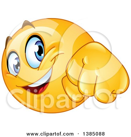 Clipart of a Yellow Emoji Smiley Face Emoticon Doing a Fist Bump - Royalty Free Vector Illustration by yayayoyo