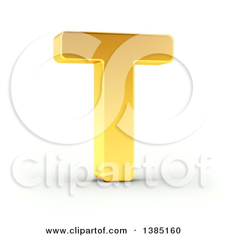 Clipart of a 3d Golden Capital Letter T, on a Shaded White Background, with Clipping Path - Royalty Free Illustration by stockillustrations