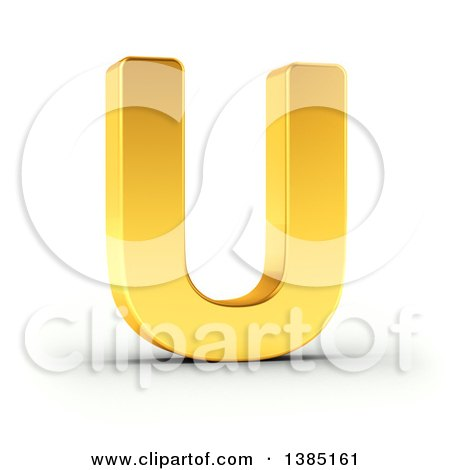Clipart of a 3d Golden Capital Letter U, on a Shaded White Background, with Clipping Path - Royalty Free Illustration by stockillustrations