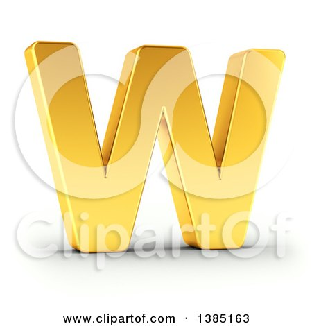 Clipart of a 3d Golden Capital Letter W, on a Shaded White Background, with Clipping Path - Royalty Free Illustration by stockillustrations