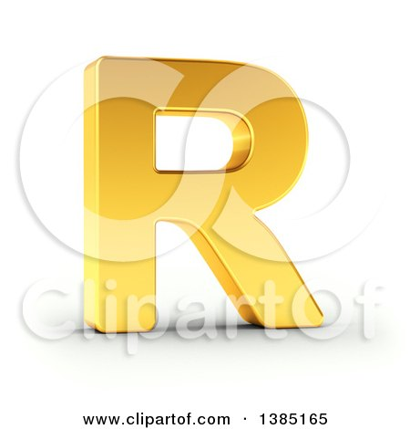 Clipart of a 3d Golden Capital Letter R, on a Shaded White Background, with Clipping Path - Royalty Free Illustration by stockillustrations
