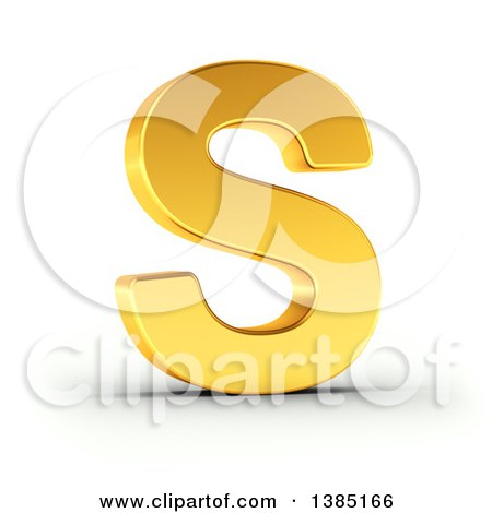 Clipart of a 3d Golden Capital Letter S, on a Shaded White Background, with Clipping Path - Royalty Free Illustration by stockillustrations