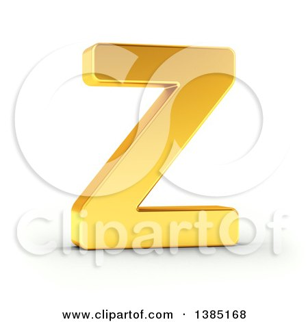 Clipart of a 3d Golden Capital Letter Z, on a Shaded White Background, with Clipping Path - Royalty Free Illustration by stockillustrations