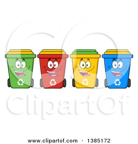 Clipart of a Cartoon Row of Cololorful Happy Recycle Bin Characters - Royalty Free Vector Illustration by Hit Toon