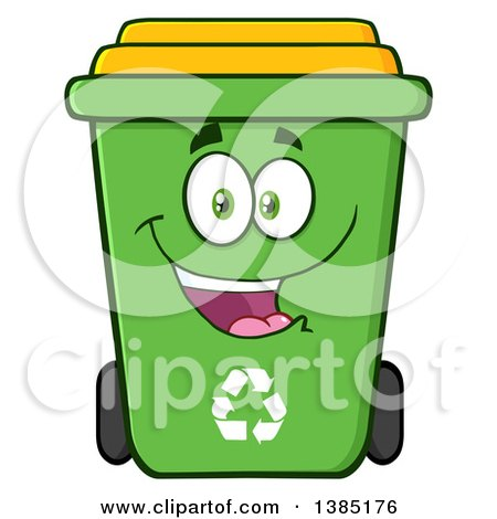 Clipart of a Cartoon Green Recycle Bin Character Smiling - Royalty Free Vector Illustration by Hit Toon