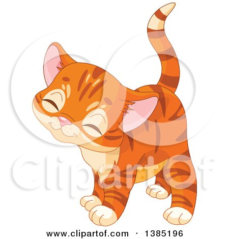 Clipart of a Cute Ginger Tabby Kitten - Royalty Free Vector Illustration by Pushkin