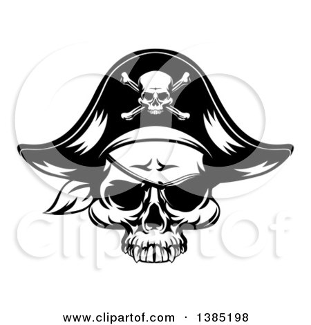Clipart of a Black and White Pirate Skull Wearing a Patch and Captain Hat - Royalty Free Vector Illustration by AtStockIllustration