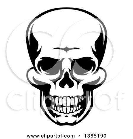 Clipart of a Black and White Grinning Grim Reaper Skull - Royalty Free Vector Illustration by AtStockIllustration