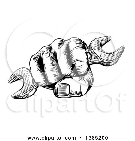 Clipart of a Black and White Woodcut or Engraved Fisted Hand Holding a Spanner Wrench - Royalty Free Vector Illustration by AtStockIllustration