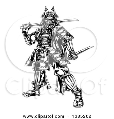 Clipart of a Black and White Engraved Samurai Warrior Holding Swords - Royalty Free Vector Illustration by AtStockIllustration