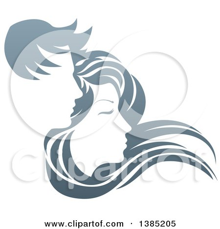 Clipart of a Gradient Couple, with Long Hair Waving in the Wind - Royalty Free Vector Illustration by AtStockIllustration