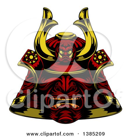 Clipart of a Red Samurai Mask - Royalty Free Vector Illustration by AtStockIllustration