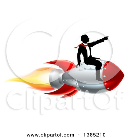 Clipart of a Silhouetted Businessman Sitting on a 3d Rocket and Pointing Forward - Royalty Free Vector Illustration by AtStockIllustration