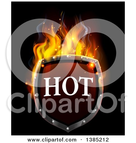 Clipart of a 3d Flaming Hot Shield on Black - Royalty Free Vector Illustration by AtStockIllustration