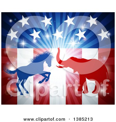 Clipart of a Silhouetted Political Aggressive Democratic Donkey or Horse and Republican Elephant Fighting over an American Flag and Burst - Royalty Free Vector Illustration by AtStockIllustration