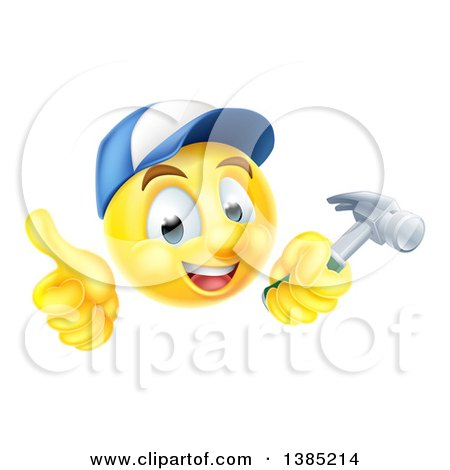 3d Carpenter Yellow Smiley Emoji Emoticon Face Giving a Thumb up and Holding a Hammer Posters, Art Prints