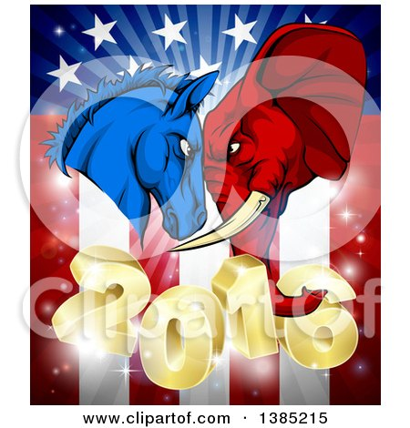 Clipart of a Political Aggressive Democratic Donkey or Horse and Republican Elephant Butting Heads over a 2016 American Flag and Burst - Royalty Free Vector Illustration by AtStockIllustration