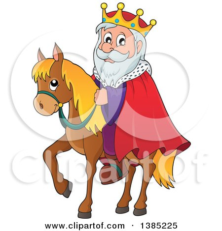 Clipart of a Happy Caucasian Horseback King - Royalty Free Vector Illustration by visekart