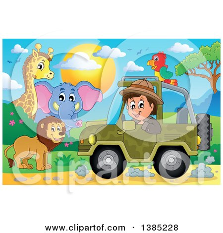 Clipart of a Happy Safari Man Driving a Jeep Around Animals - Royalty Free Vector Illustration by visekart