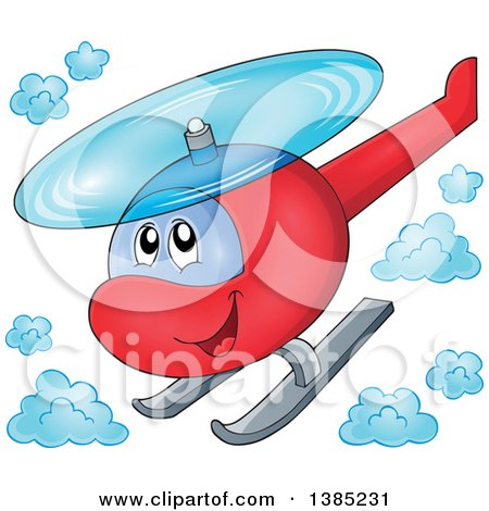 Clipart of a Happy Cartoon Helicopter Character Flying - Royalty Free Vector Illustration by visekart
